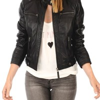 Leather Planet Women's Lambskin Leather Bomber Biker Jacket
