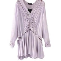 Women's Purple/Lilac Crochet Cutout Lace BOHO Tunic Dress Beach Coverup