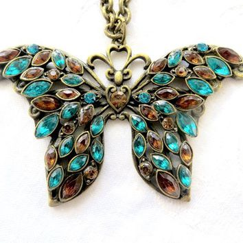 """Rhinestone Butterfly Necklace, Vintage Butterfly Pendant, Teal & Amber Navettes, 30 """" Cable Chain Butterfly Jewelry"""