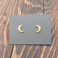 Tiny Hammered Crescent Moon Stud Earrings in Gold with Sterling Silver Posts