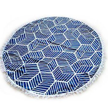 Round Geometric Beach Blanket // Tapestry // Perfect for Concerts at the Park // Sarong
