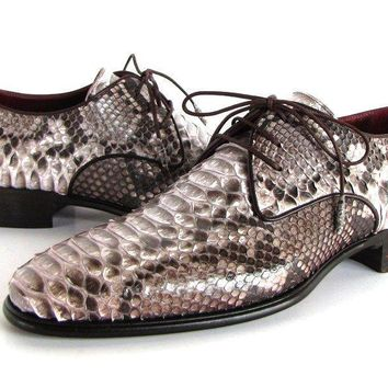 Paul Parkman (FREE Shipping) Men's Natural Genuine Python (snakeskin) Derby Shoes (ID#0787SNK)