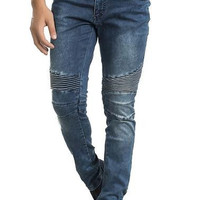 Ron Tomson Navy Blue Quilted Skinny Washed Moto Jeans