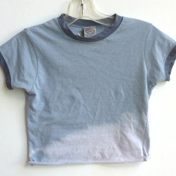 Cropped Tee Shirt Top Ombre Bleached Fade Size X-Small