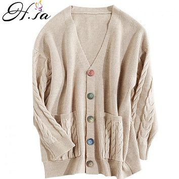 H.SA Women Cashmere Beige Sweater Cardigans Colorful Button Open Stitch Loose  Style Long Sweater and Cardigans Winter Warm Clothes
