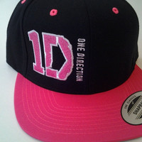 1D logo Snapback embroidered hat from One Direction custom hat.  Harry Styles Snap Back