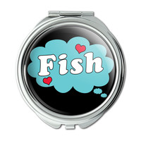 Dreaming of Fish Blue Compact Purse Mirror
