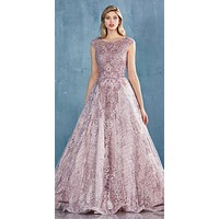 Rose Lace Embellished Long Prom Dress with Cap Sleeves