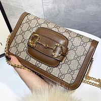 Hipgirls GUCCI New fashion more letter leather shopping and leisure shoulder bag crossbody bag