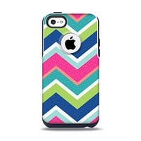The Vibrant Teal & Colored Layered Chevron V3 Apple iPhone 5c Otterbox Commuter Case Skin Set