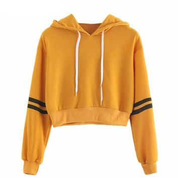 Yellow Tracker Cropped Hoodie