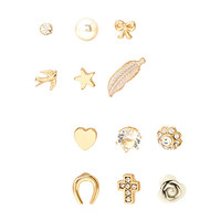 FOREVER 21 Mixed Stud Set Gold/Clear One