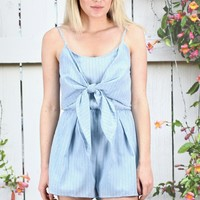 Tie Me Up in Stripes Romper {Misty Blue}