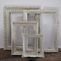 Open Picture Frame Set Of 4 Shabby Chic Antique White Wall Decor