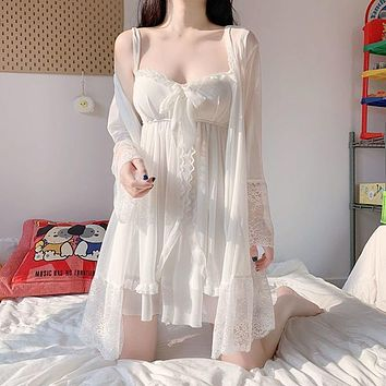 Sexy Nightwear New Vintage Princess Style Dress Cute Lace Sling Nightdress Kawaii Bow Nightgown Home Suit