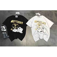 Moschino chest puppy print spring and summer fashion couple short-sleeved T-shirt F-A-HRWM