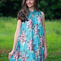 Umgee Sleeveless Blue Dress with Floral Print and Lace Keyhole Neckline