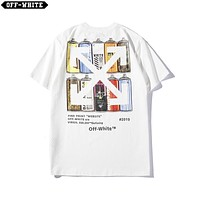 OFF White Summer Newest Hot Sale Women Men Print Round Collar T-Shirt Top White