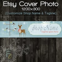 Etsy Shop Cover Photo 1200x300, Premade Christmas Holiday Deer Design, Customize Shop Name, Festive Etsy Shop, Great on Mobile Devices