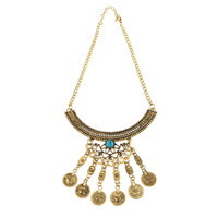 Gold Necklace & Earrings With Stone And Coin Pendants