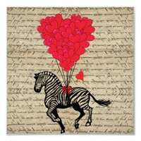 Funny vintage zebra & heart balloons poster from Zazzle.com