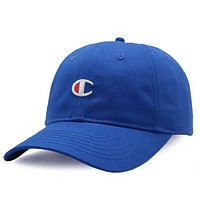 Champion Fashion New Embroidery Logo Sunscreen Travel Women Men Cap Hat Sapphire Blue