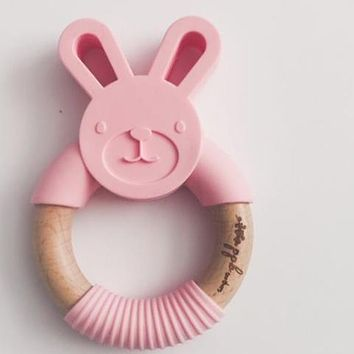 Bunny Ring Teether - Cotton Candy Pink