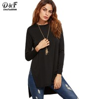 Woman T Shirt Top Women's Clothing Top T Shirt Women Slit Side High Low T-shirt