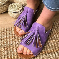The new summer hot seller is low-heeled fringed slippers
