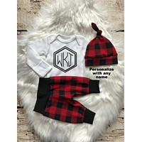 Monogrammed Plaid Baby Boy Coming Home Outfit