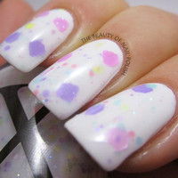 Baby Cakes - White Crelly Polish With Rainbow Pastel Glitter and Pink / Purple Cupcake Glitter