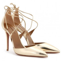 Pointed Toe Shoes Woman Gold Leather Women Pumps Thin Strappy Lace Up Sandals Wo