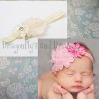 Baby Girls Headband, Baby Headband, Pink Headband, Rose Flower Headband, Cute Baby Headband, Elastic Headband, Flower Headband for Girls