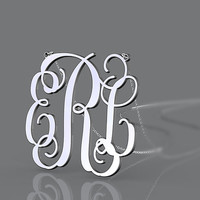 Personalized 925 sterling silver monogram necklace 3 initial nameplate monogram customized