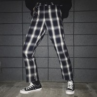 Korean Ulzzang Split Pants With Ring Black White Lattice Casual Pants Japanese Harajuku Street Fashion Female Pencil Trousers