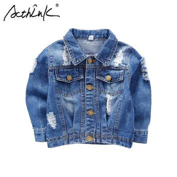 Trendy ActhInK New 2018 Boys Ripped Denim Jacket Baby Kids Street Motorcyle Disstrressed Jeans Jacket Boys Spring Denim Outwear, C178 AT_94_13