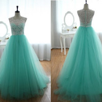 Exquisite Turqoise Ball Gown Round Neckline Sweep Train Wedding Dress