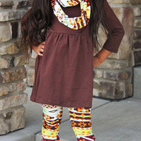 Girls Fall Outfit, Girls Aztec Outfit, Aztec Leggings, Toddler Infinity Scarf, Girls Thanksgiving Outfit, Girls Infinity Scarf, Girls Tunic