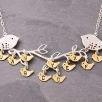 Grandma Necklace, 1 to 11 kids, nana necklace, family necklace, mother necklace, mom necklace, mothers necklace, initial necklace, N4-2