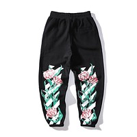 Off White Fashion New Letter Floral Leaf Print Women Men Sports Leisure Pants Black