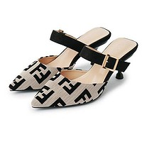 FENDI Fashion Women Casual F Letter Pointed Half Slippers Sandals High Heels Shoes Grey