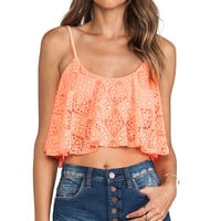 Lovers + Friends Delight Crop Top in Coral
