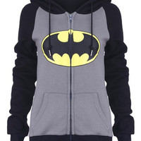Black and Grey Hooded Batman Print Zip Up Hoodie