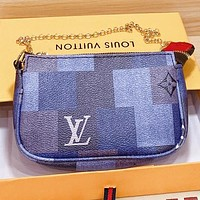 LV New fashion monogram print tartan leather chain shoulder bag crossbody bag Blue