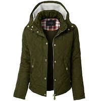Quilted Long Sleeve Puffer Jacket with Faux Fur Hoodie (CLEARANCE)