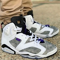 Air Jordan 6 High Quality Men Women Casual Sport Basketball Shoes Sneakers White&Grey
