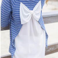 To The Sea Blue And White Striped High Low Bow Back Chiffon Top