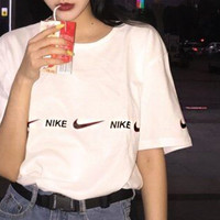 NIKE Bust Flag Sleeve Flag Long Logo Hook Men Tee Shirt Top B-AA-XDD White