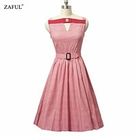 ZAFUL Women Retro Dress Rockabilly Hepburn Plaid Party Prom Cocktail Tea Ball Gown Swing Female Vestidos Dresses 50s 60s Pinup