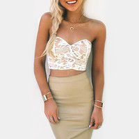 Cupshe Sun and Dance Lace Strapless Matching Set
